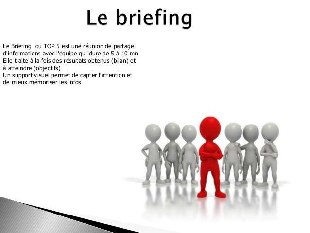 Le Briefing ou TOP 5 est une réunion de partage d'informations avec l'équipe qui dure de 5 à 10 mn Elle traite à la fois d...