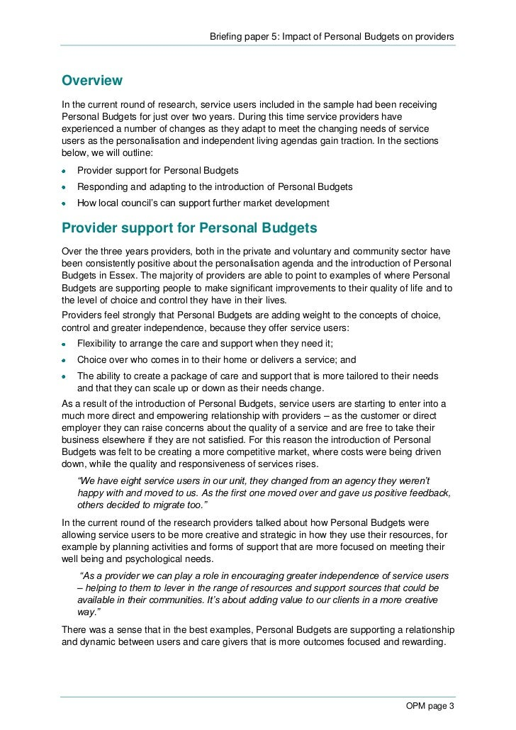 briefing 5 impact of personal budgets on providers