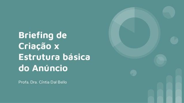 Briefing de Criação x Estrutura básica do Anúncio Profa. Dra. Cíntia Dal Bello