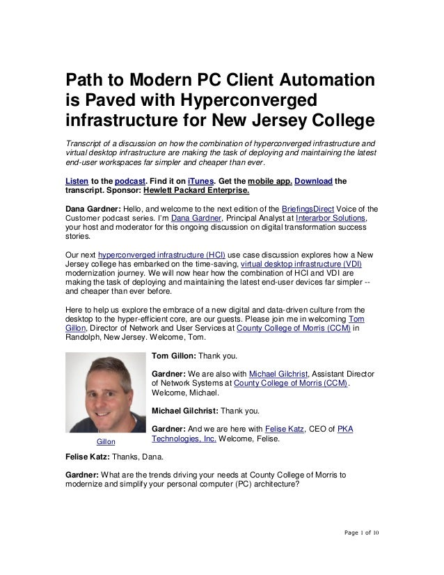 Page 1 of 10 Path to Modern PC Client Automation is Paved with Hyperconverged infrastructure for New Jersey College Transc...