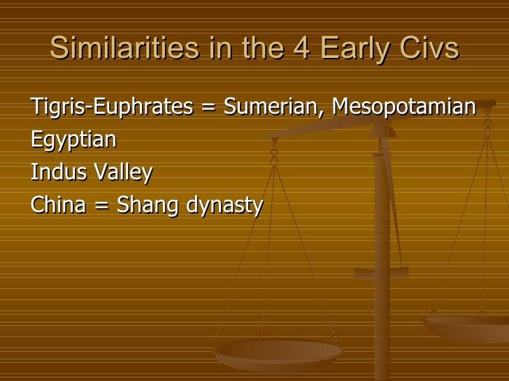 Similarities in the 4 Early Civs <ul><li>Tigris-Euphrates = Sumerian, Mesopotamian </li></ul><ul><li>Egyptian </li></ul><u...