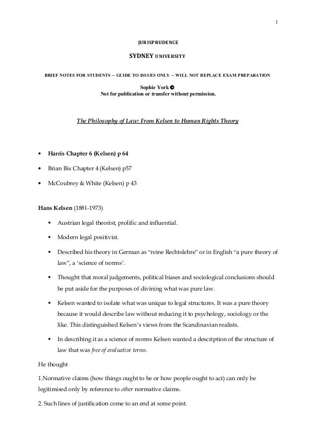 1 JURISPRUDENCE SYDNEY UNIVERSITY BRIEF NOTES FOR STUDENTS – GUIDE TO ISSUES ONLY – WILL NOT REPLACE EXAM PREPARATION Soph...