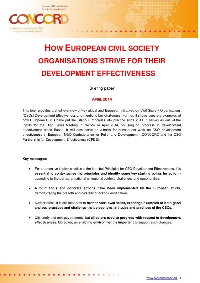 www.concordeurope.org 1 HOW EUROPEAN CIVIL SOCIETY ORGANISATIONS STRIVE FOR THEIR DEVELOPMENT EFFECTIVENESS Briefing paper...