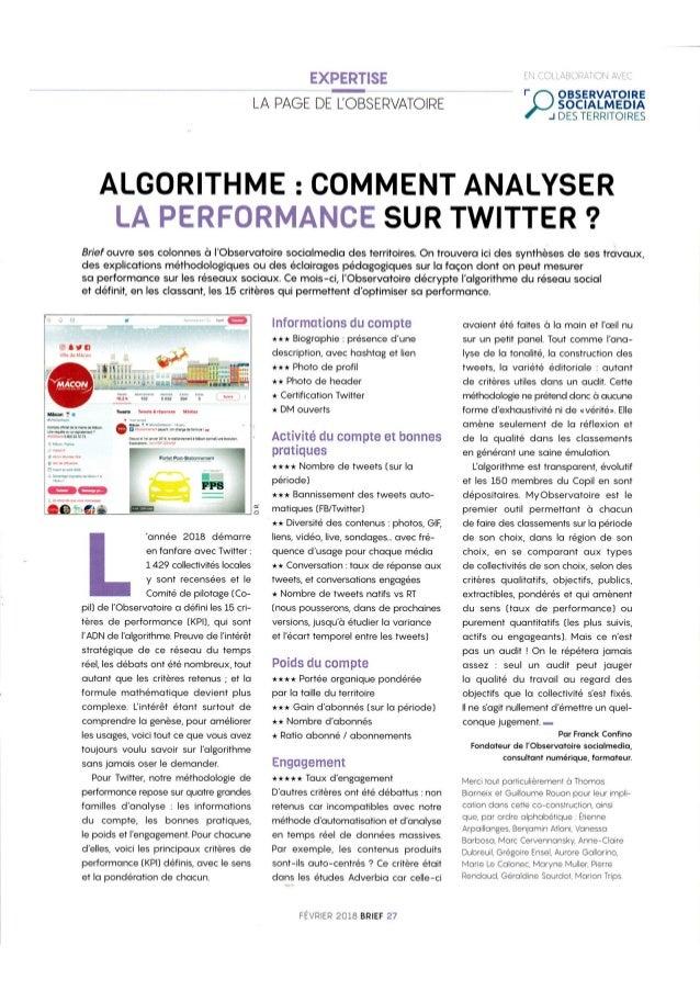 [Brief] Algorithme : comment analyser la performance sur Twitter ?