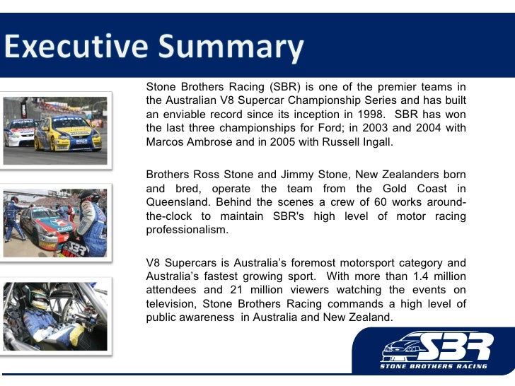Stone Brothers Racing (SBR) is one of the premier teams in the Australian V8 Supercar Championship Series and has built an...