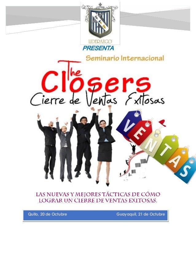 PRESENTA  Quito, 20 de Octubre Guayaquil, 21 de Octubre