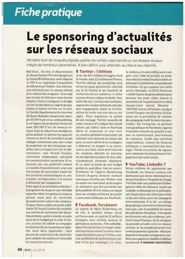 Brief : le sponsoring d'actualités sur les réseaux sociaux