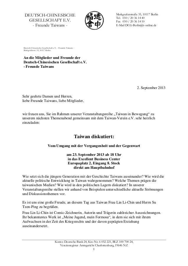 Konto: Deutsche Bank 24, Kto-Nr. 6 032 221, BLZ 100 700 24, Vereinsregister Amtsgericht Charlottenburg, 19646 NZ 1 DEUTSCH...