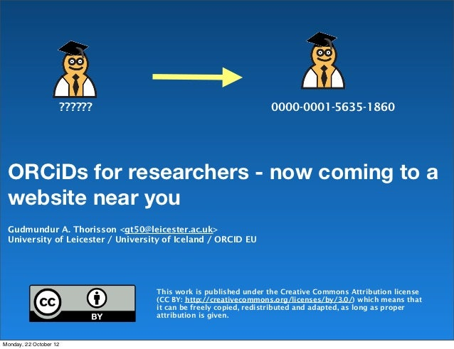 ??????                                  0000-0001-5635-1860 ORCiDs for researchers - now coming to a website near you Gudm...