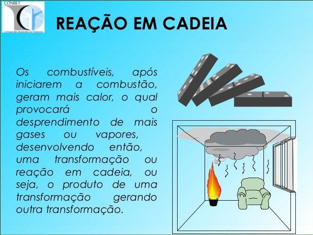 12 Os combustíveis, após iniciarem a combustão, geram mais calor, o qual provocará o desprendimento de mais gases ou vapor...
