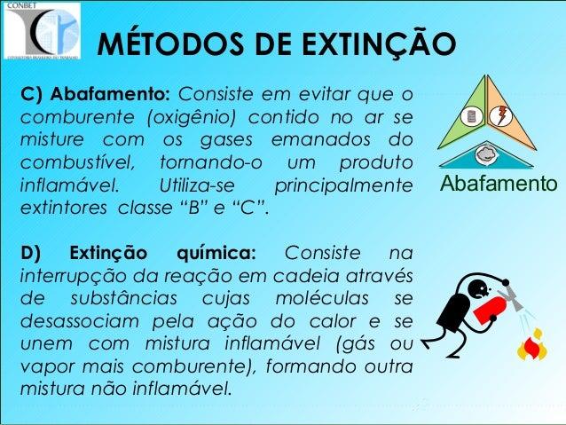 32 C) Abafamento: Consiste em evitar que o comburente (oxigênio) contido no ar se misture com os gases emanados do combust...