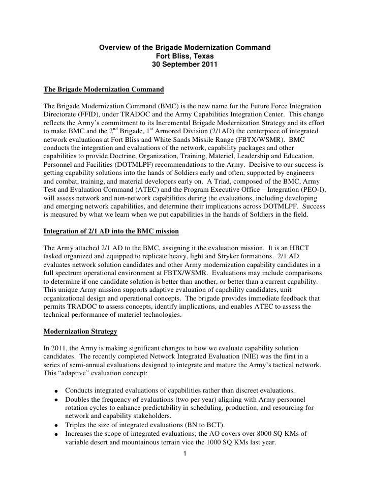 Overview of the Brigade Modernization Command<br />Fort Bliss, Texas<br />30 September 2011<br />The Brigade Modernization...