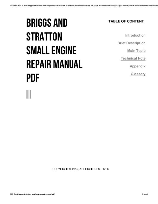 Briggs and stratton small engine repair manual pdf