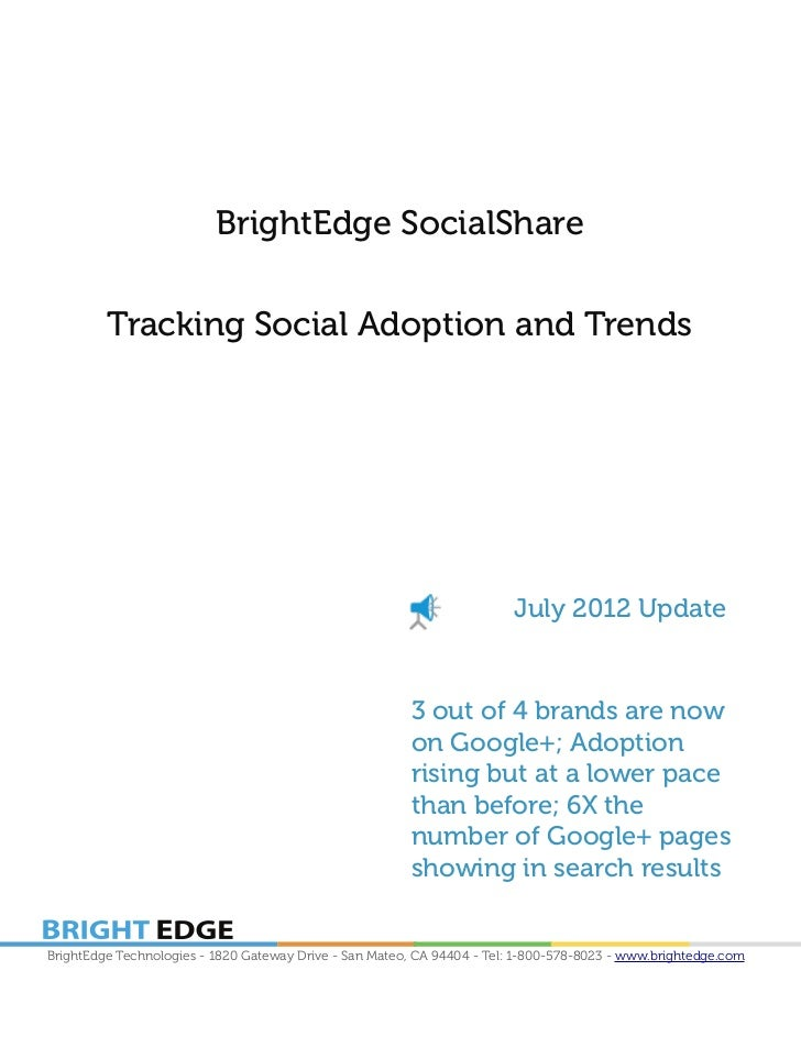 BrightEdge SocialShare         Tracking Social Adoption and Trends                                                        ...