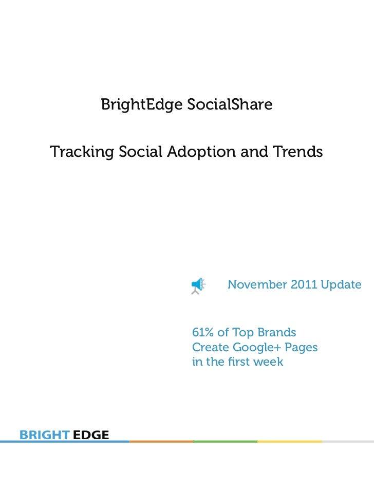BrightEdge SocialShareTracking Social Adoption and Trends                       November 2011 Update                  61% ...