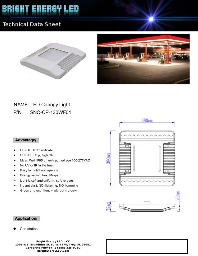 Bright Energy Led Canopy-130W