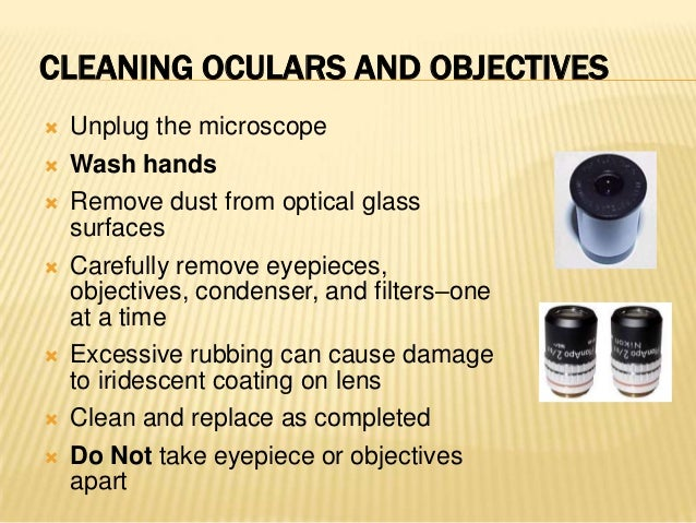  Unplug microscope and allow bulb tocool Carefully place microscope on itsside Open bulb house; use tissue toremove bul...