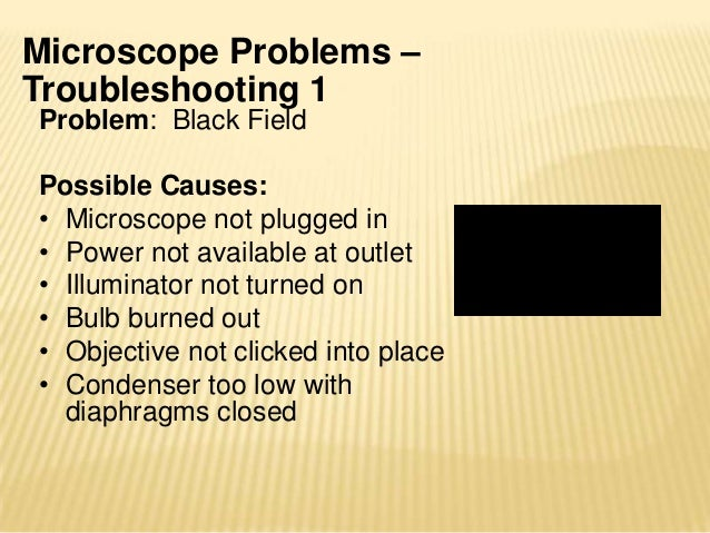 Microscope Problems –Troubleshooting 2Problem: Field only partiallyilluminatedPossible Causes:• Objective not clicked into...