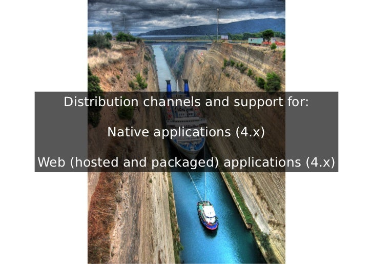 Distribution channels and support for:          Native applications (4.x)Web (hosted and packaged) applications (4.x)