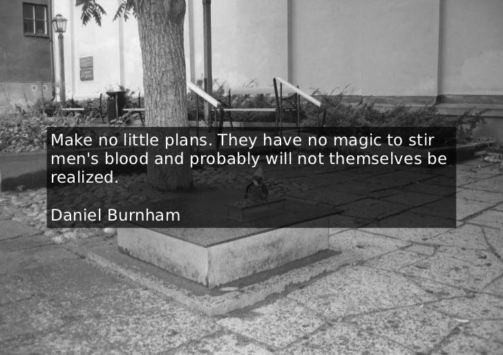 Make no little plans. They have no magic to stirmens blood and probably will not themselves berealized.Daniel Burnham