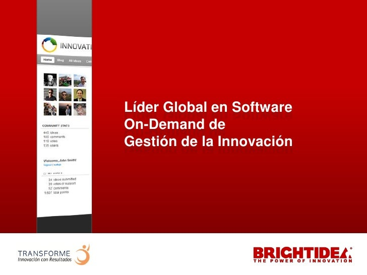 Líder Global en Software                    On-Demand de                    Gestión de la Innovaciónwww.transforme.cl