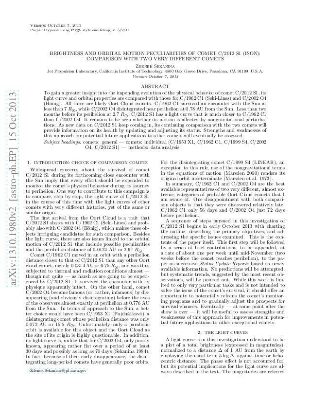 Version October 7, 2013 A Preprint typeset using L TEX style emulateapj v. 5/2/11  BRIGHTNESS AND ORBITAL MOTION PECULIARI...