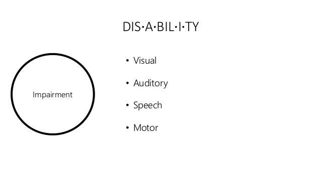 Impairment DIS·A·BIL·I·TY • Visual • Auditory • Speech • Motor