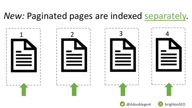 @Adoublegent brightonSEO New: Paginated pages are indexed separately. 1 2 3 4