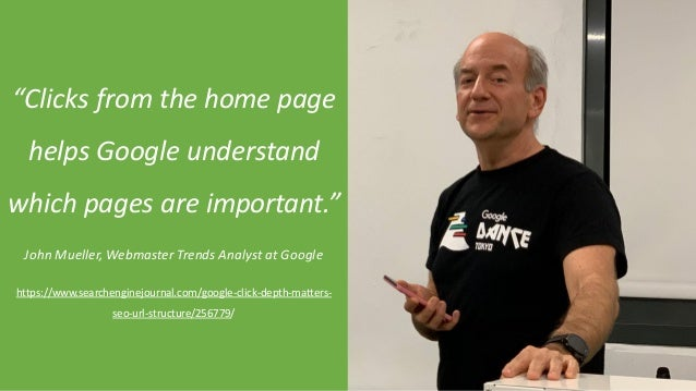 """@Adoublegent brightonSEO@Adoublegent brightonSEO """"Clicks from the home page helps Google understand which pages are import..."""