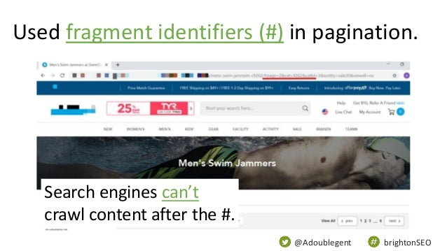 @Adoublegent brightonSEO Used fragment identifiers (#) in pagination. Search engines can't crawl content after the #.