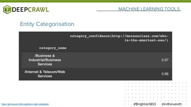 MACHINE LEARNING TOOLS @rvtheverett#BrightonSEOhttps://github.com/BritneyMuller/colab-notebooks Entity Categorisation