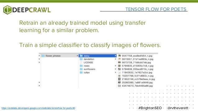 TENSOR FLOW FOR POETS @rvtheverett#BrightonSEOhttps://codelabs.developers.google.com/codelabs/tensorflow-for-poets/#0 Retr...