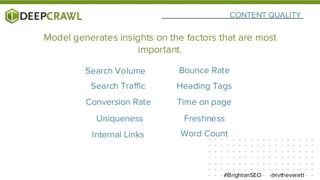 CONTENT QUALITY @rvtheverett#BrightonSEO Search Volume Uniqueness Freshness Internal Links Word Count Search Traffic Headi...