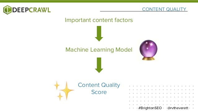 CONTENT QUALITY @rvtheverett#BrightonSEO Important content factors Machine Learning Model Content Quality Score