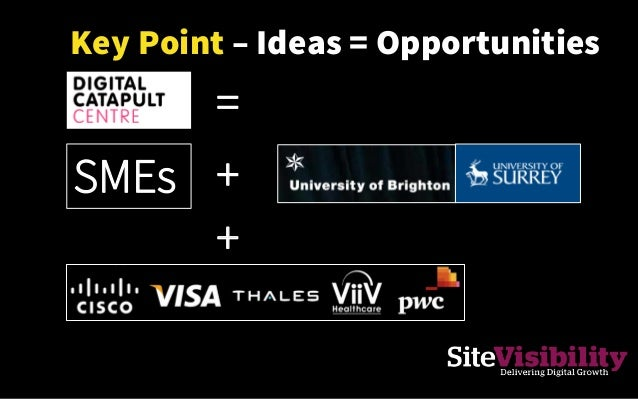 Key Point – Ideas = Opportunities + = SMEs +
