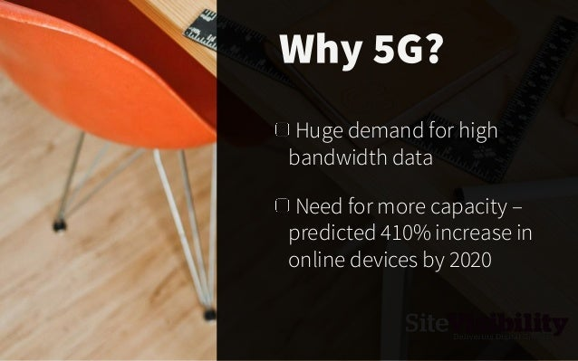 Huge demand for high bandwidth data Need for more capacity – predicted 410% increase in online devices by 2020