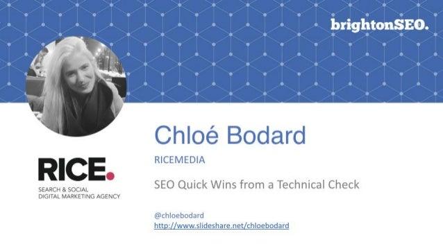 @chloebodard | #brightonseo Technical Check??? @chloebodard | #BrightonSeo
