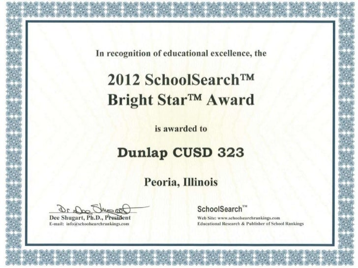 Bright Star Award• Based on districts with highest student  performance at lowest cost• Awarded to 85 Illinois School Dist...