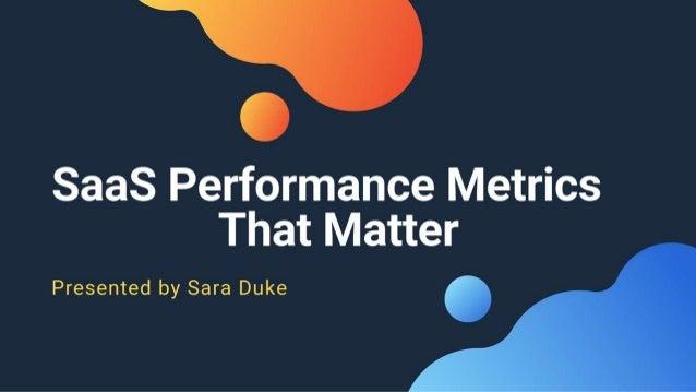 SaaS Performance Metrics That Matter