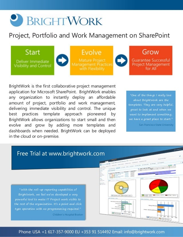 Project, Portfolio and Work Management on SharePointBrightWork is the first collaborative project managementapplication fo...