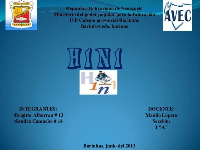 Republica Bolivariana de VenezuelaMinisterio del poder popular para la EducaciónU.E Colegio provincial BarinitasBarinitas ...
