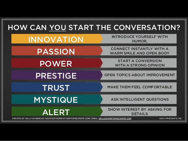 HOW CAN YOU START THE CONVERSATION?  INNOVATION  PASSION  POWER  PRESTIGE  TRUST  MYSTIQUE  ALERT  INTRODUCE YOURSELF WITH...
