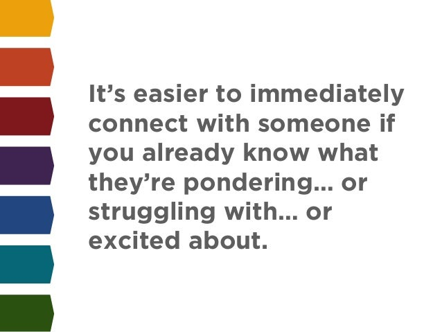 It's easier to immediately  connect with someone if  you already know what  they're pondering… or  struggling with… or  ex...