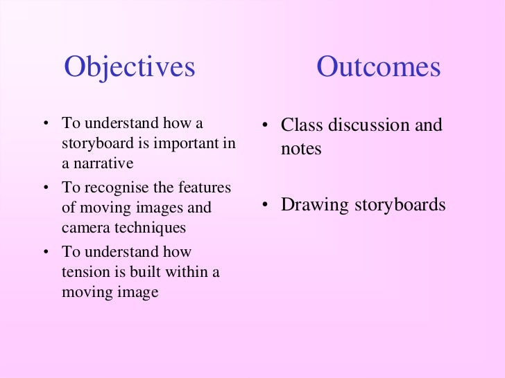 Objectives                         Outcomes• To understand how a          • Class discussion and  storyboard is important ...