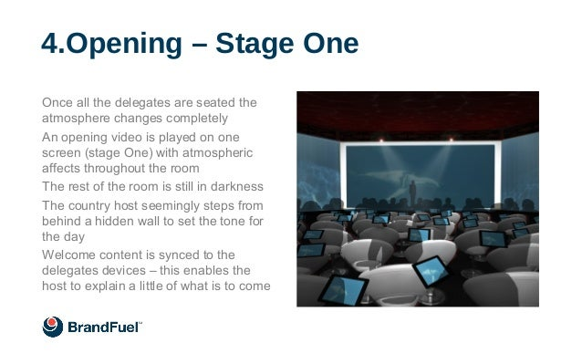 Once all the delegates are seated the atmosphere changes completely An opening video is played on one screen (stage One) w...