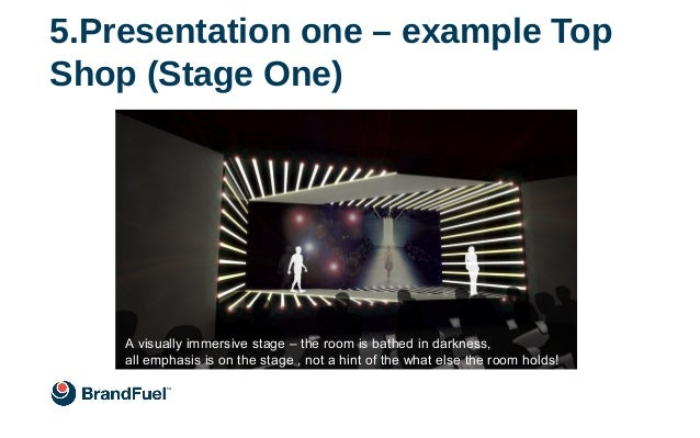 5.Presentation one – example Top Shop (Stage One) First presentation, still on Stage One A visually immersive stage – the ...