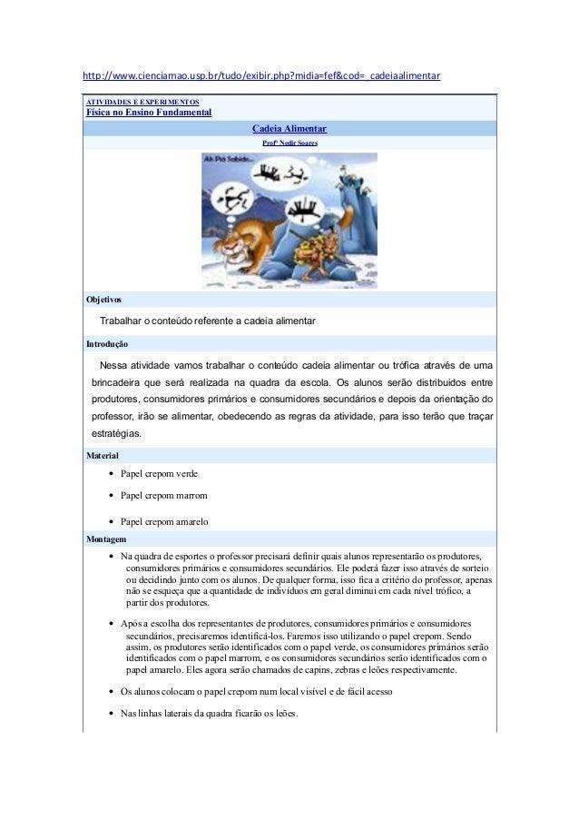 http://www.cienciamao.usp.br/tudo/exibir.php?midia=fef&cod=_cadeiaalimentar ATIVIDADES E EXPERIMENTOS Física no Ensino Fun...