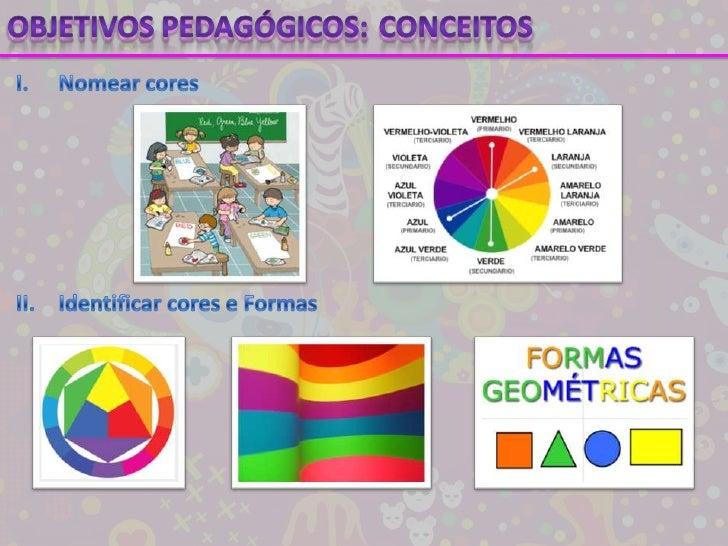 Objetivos pedagógicos:<br />Conceitos<br />I.Nomear cores<br />II.Identificar cores e Formas<br />