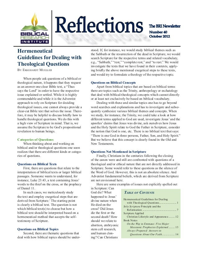 The BRI Newsletter Number 40 October 2012 ReflectionsReflections Table of Contents Hermeneutical Guidelines for Dealing 	 ...