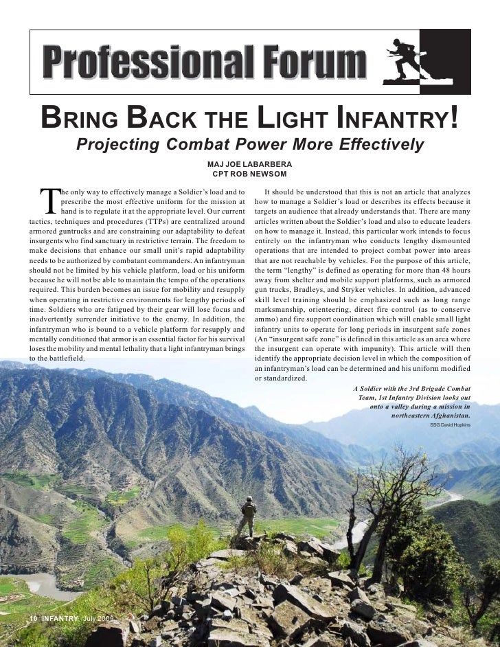 BRING BACK THE LIGHT INFANTRY!                Projecting Combat Power More Effectively                                    ...